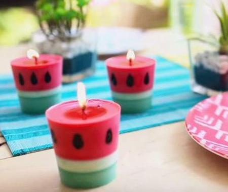 نحوه درست کردن شمع هندوانه ای,آموزش ساخت شمع به شکل هندوانه