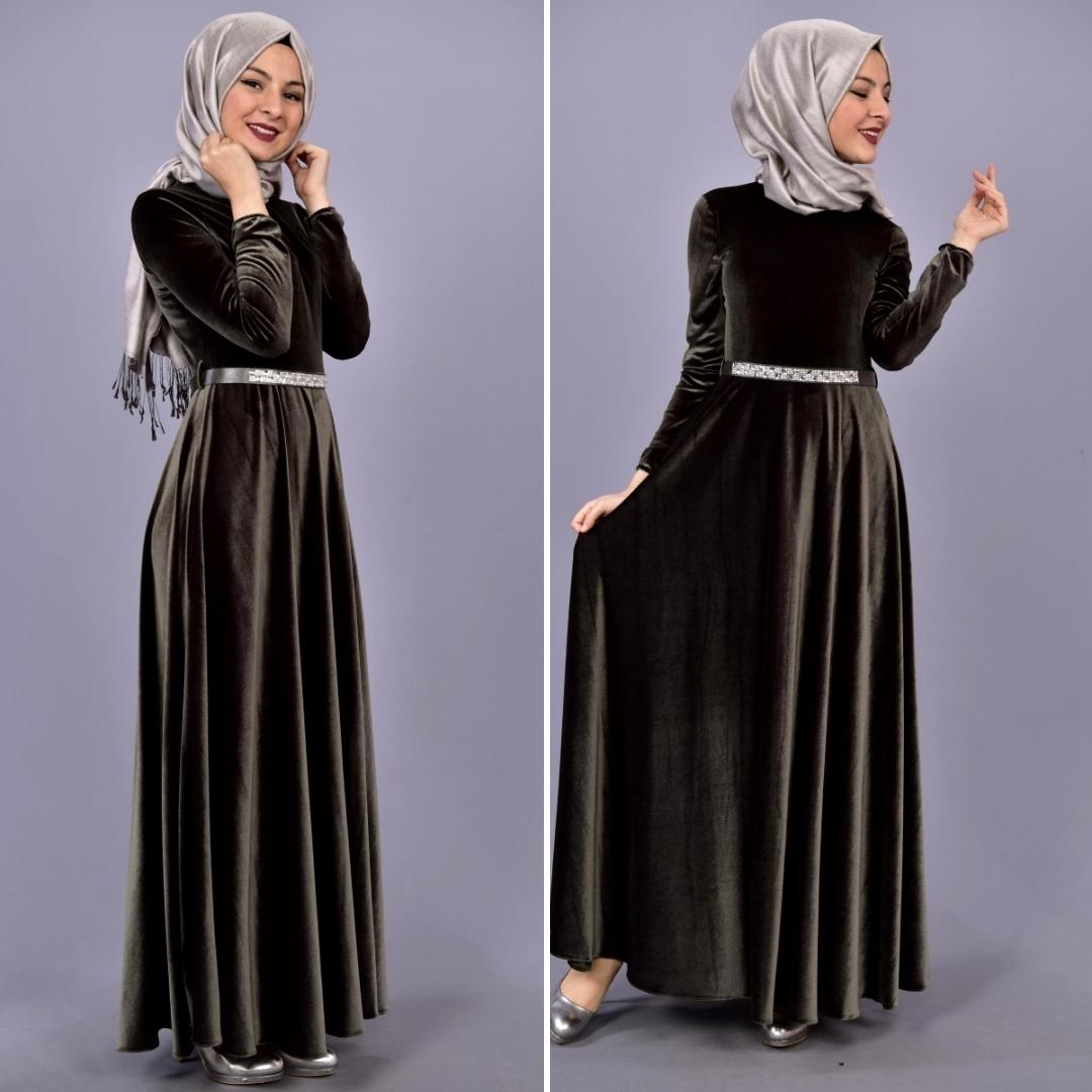 مدل لباس مجلسی مخمل بلند دخترانه