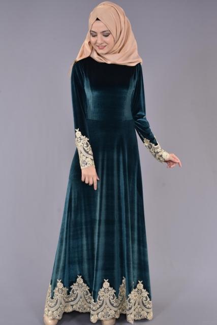 مدل لباس مجلسی مخمل استین بلند