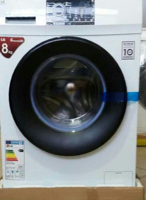 ماشین لباسشویی ال جی LG سفید 8 کیلویی با نمایشگر دیجیتال 15 برنامه شستشو و خشک با گارانتی.