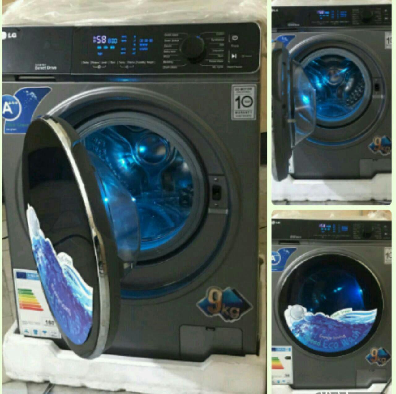 ماشین لباسشویی ال جی LG رنگ تیتانیوم 9 کیلویی درب بزرگ. روشنایی ال ای دی