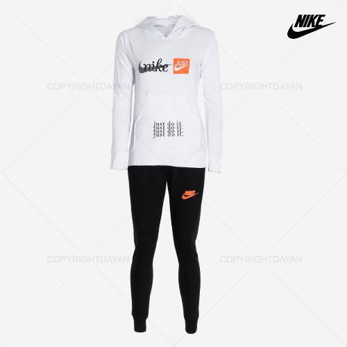 ست سویشرت و شلوار زنانه Nike مدل B8699 سفید