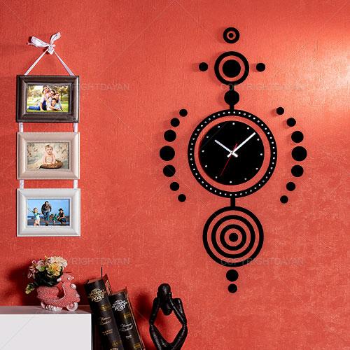 فروش ساعت دیواری چوبی با روکش مخمل مدل نازنین