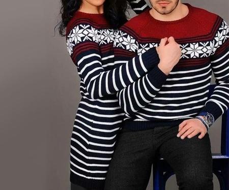 ست بافتنی زن و شوهر زن و مرد زرشکی طوسی طرحدار 2019