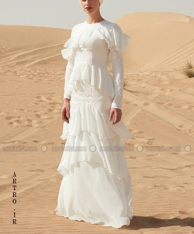 مدل لباس عروس پوشیده گیپور