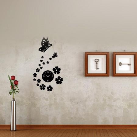 خرید پستی ساعت دیواری طرح فانتزی بهار با پروانه
