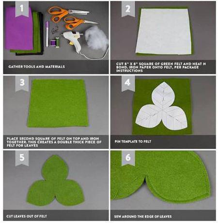 درست کردن گل با نمد, آموزش تصویری ساخت گل با نمد