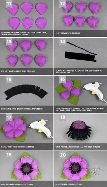 درست کردن گل نمدی, ایده هایی برای گل های نمدی