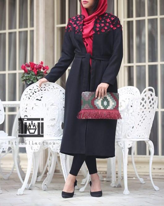 مدل مانتو بلند مشکی عید اینستاگرام