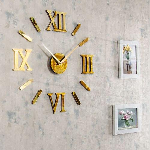 خرید ساعت دیواری مدرن رومی رنگ طلایی