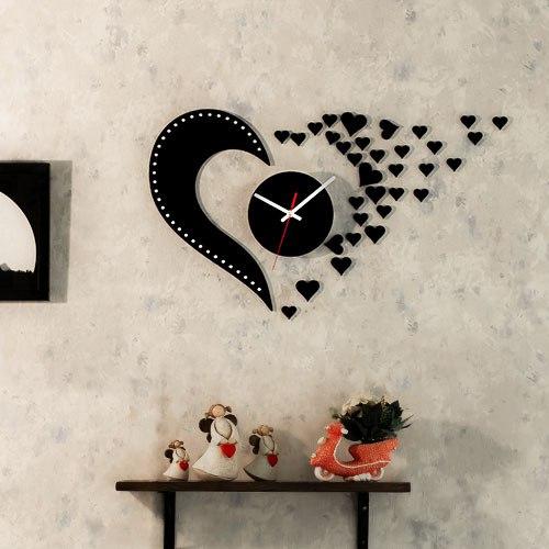 خرید ساعت دیواری روکش مخمل طرح Love