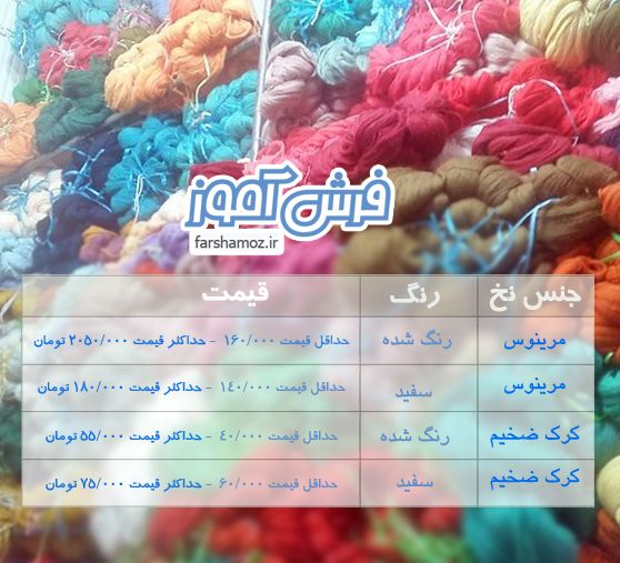 قیمت روز نخ کرک و نخ مرینوس فرش دستبافت + نخ تابلو فرش  2