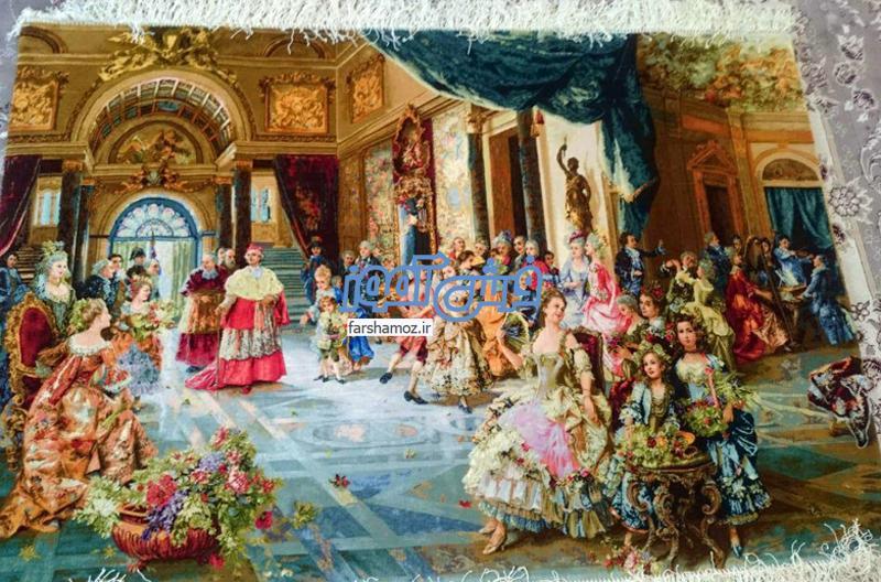 قیمت تابلو فرش جشن عروسی پاپ در سال 98 چند است؟
