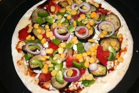 آموزش درست کردن پیتزا سبزیجات, نحوه پخت پیتزا سبزیجات