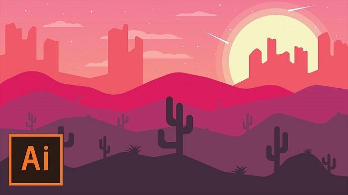 طراحی منظره ی بیابان در ایلوستریتور