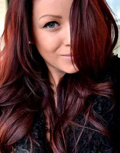 رنگ مو عنابی,رنگ مو شرابی خاکی ,رنگ موی عنابی