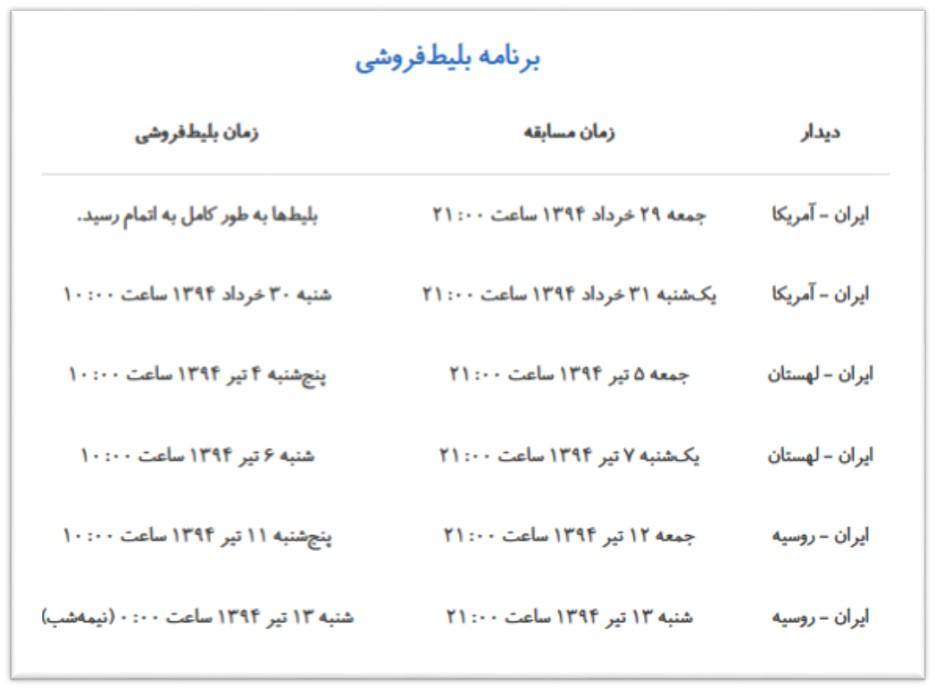 خرید بلیط بازی ایران و آمریکا 29 خرداد 94