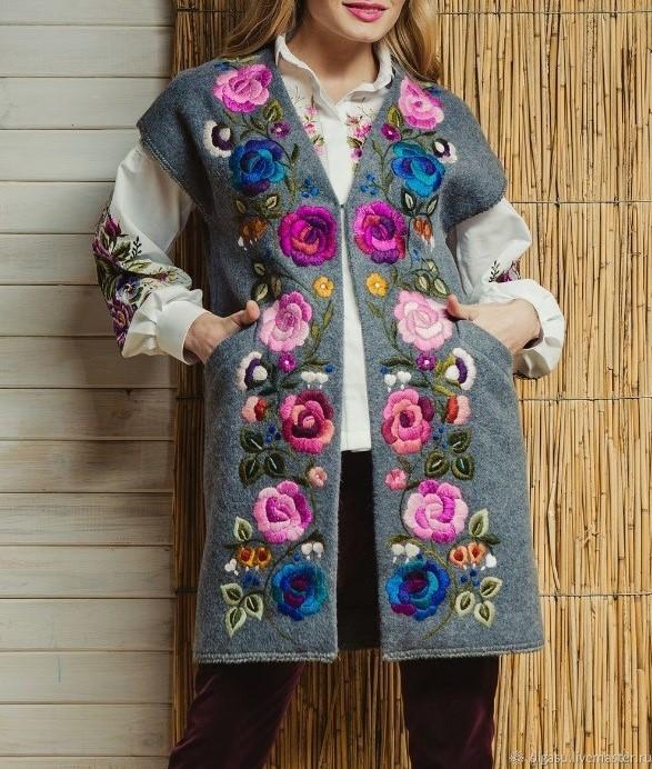 مدل مانتو پاییزی گل دوزی