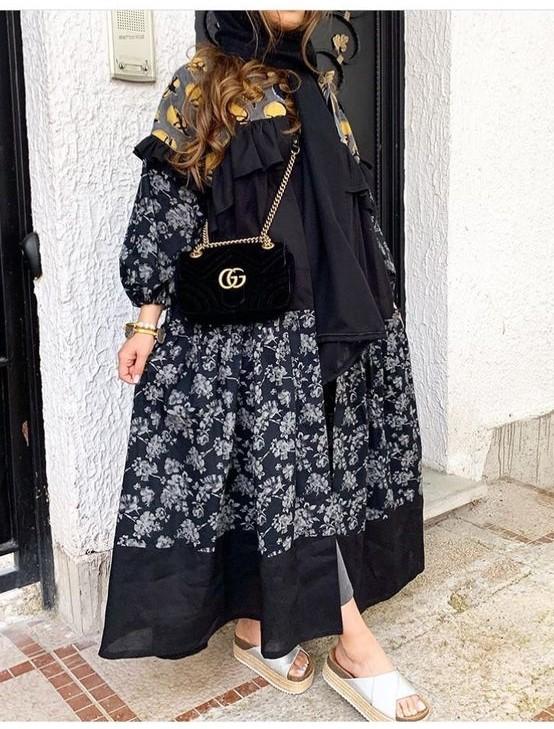 مدل مانتو مجلسی بلند مشکی دخترانه