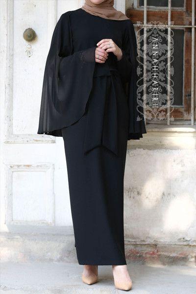 مدل مانتو مجلسی بلند مشکی جلو بسته