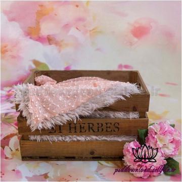 بک دراپ نوزاد جعبه چوبی و گل صورتی-کد 1373