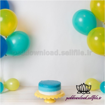 بک دراپ تولد تم زرد و آبی-کد 1476