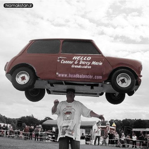 عجیب ترین رکورد گنیس بلند کردن ماشین با سر