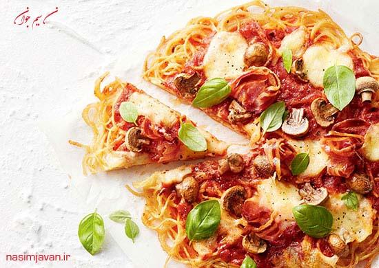 طرز تهیه پیتزای اسپاگتی