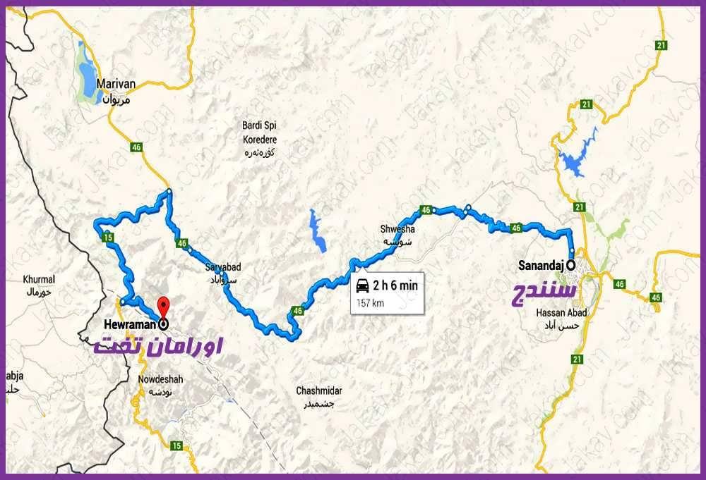 نقشه راهنمای سفر به اورامان تخت