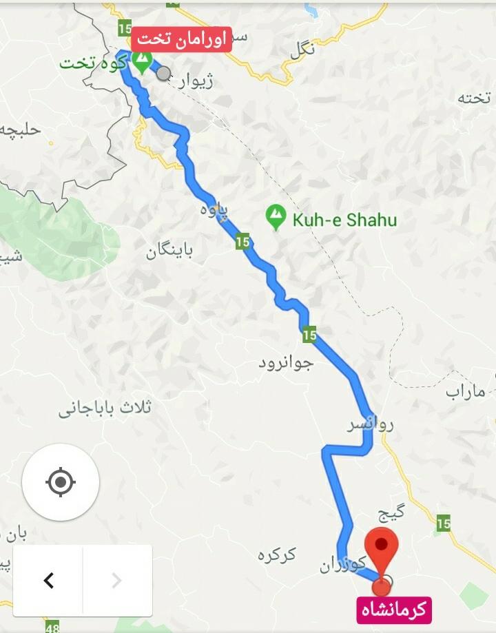 نقشه راهنمای سفر به اورامان تخت . از کرمانشاه