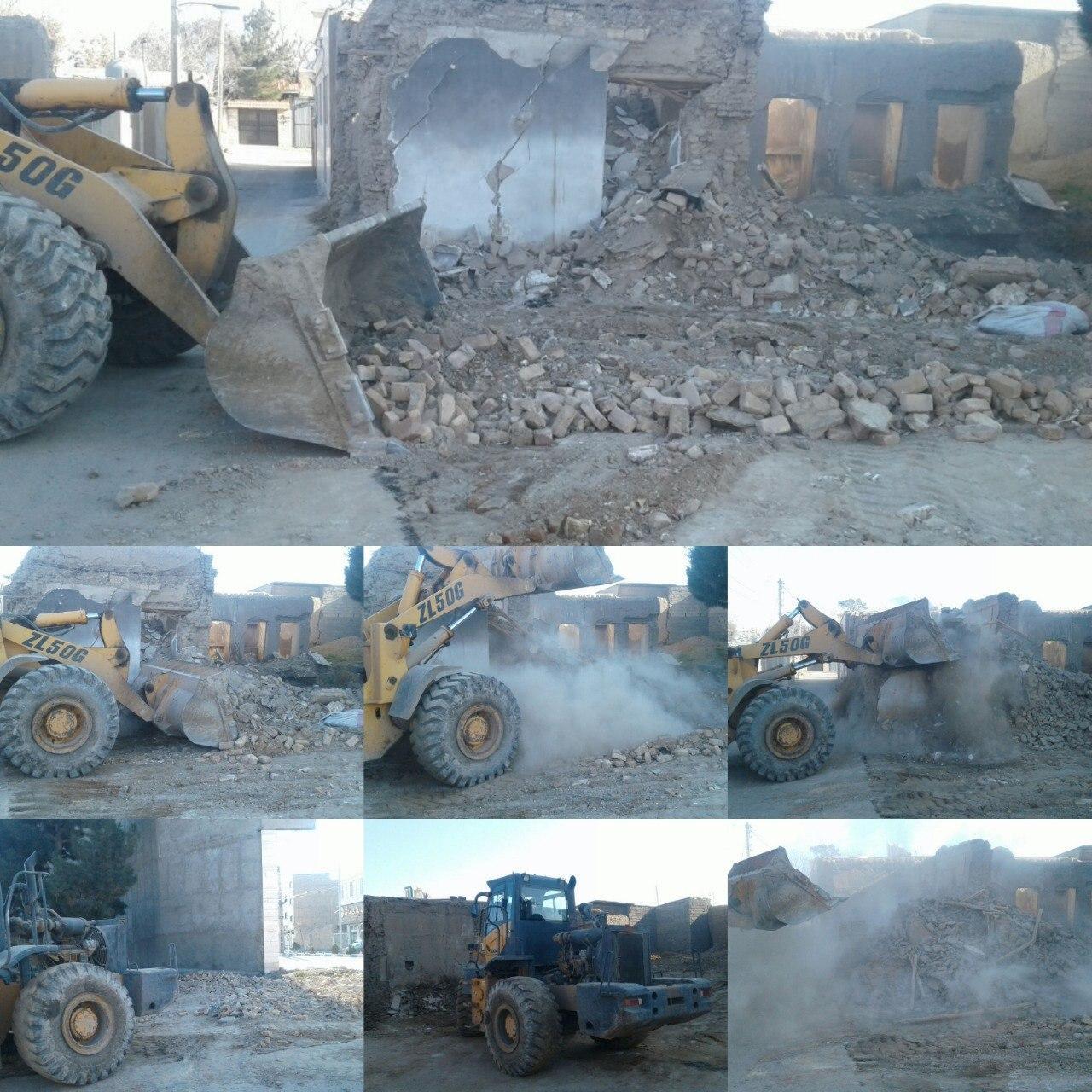 تخریب یک باب منزل مسکونی متروکه واقع در محله شفیع آباد
