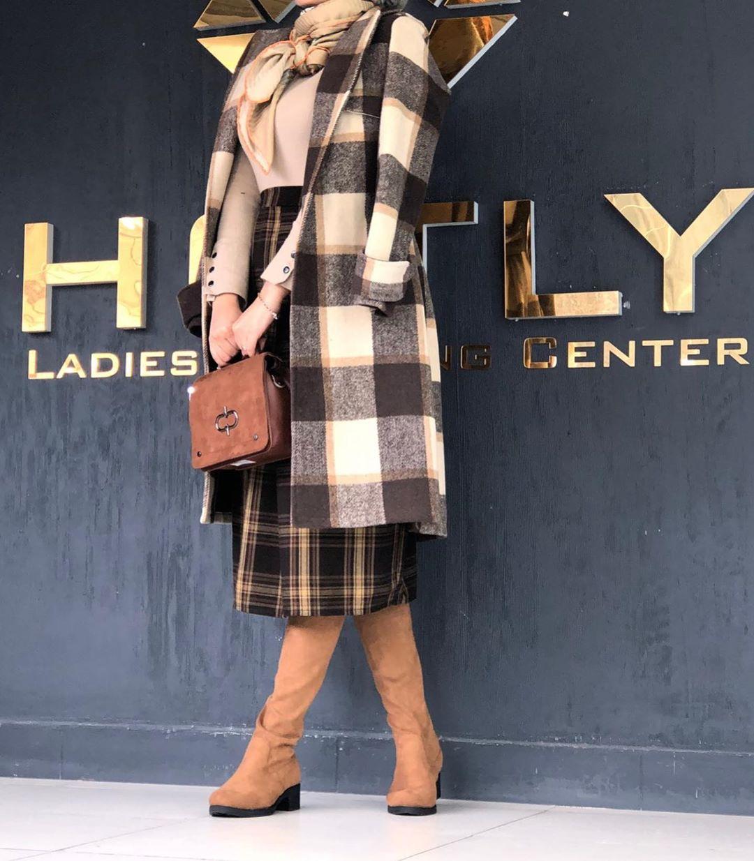 مدل پالتو دخترانه چهارخونه شیک