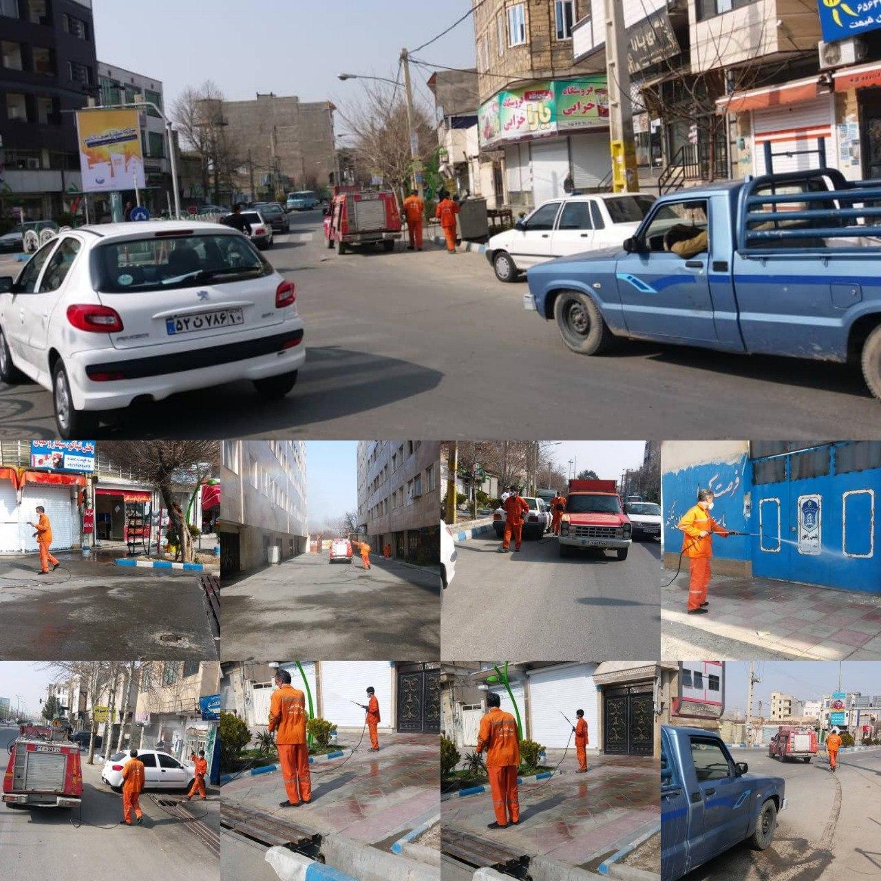 عملیات ضدعفونی معابر عمومی شهر