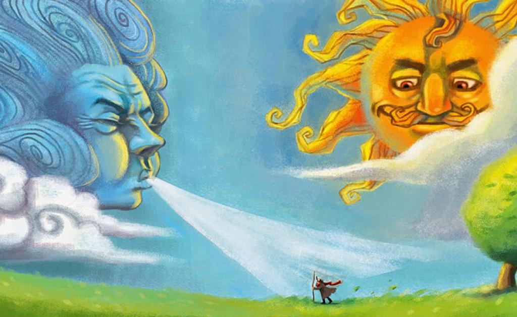 داستان شیرین و معروف  «  خورشید و باد »