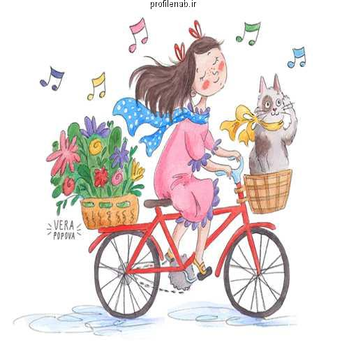 عکس دوچرخه سواری دخترانه