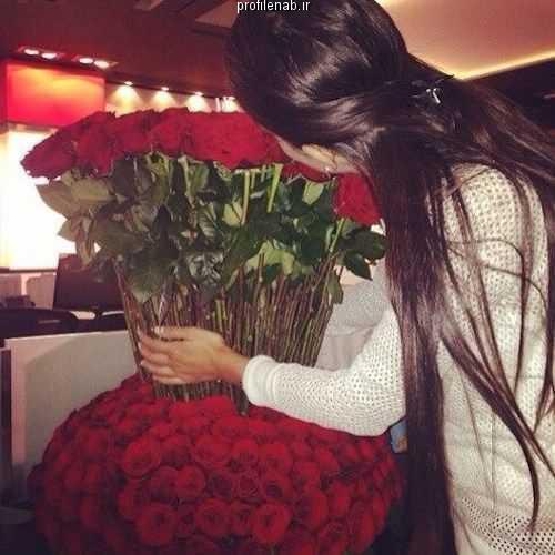 عکس پروفایل دختر و گل رز