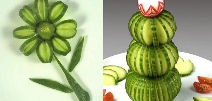 میوه آرایی با خیار با 30 ایده و تزیین زیبا و متفاوت