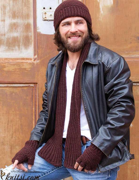 مدل شال و کلاه مردانه بافتنی
