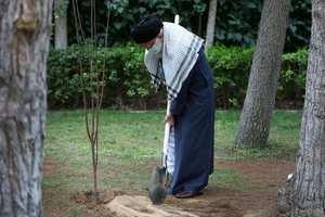 عکس آيت الله خامنه اي در حال کاشت درخت