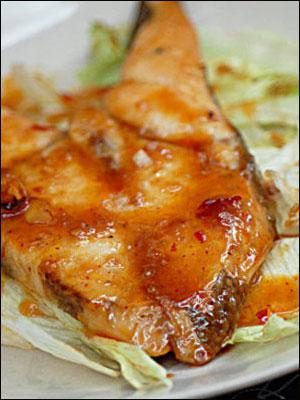 خوراک ماهی و سبزی