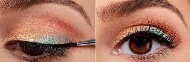 آرایش چشم قهوه ای با دو رنگ