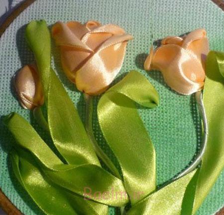 روبان دوزی گل لاله
