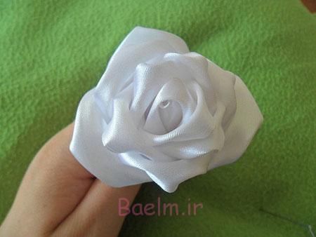 ساخت گل رز سفید با روبان ساتنی