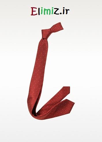کراوات قرمز با خال سفید