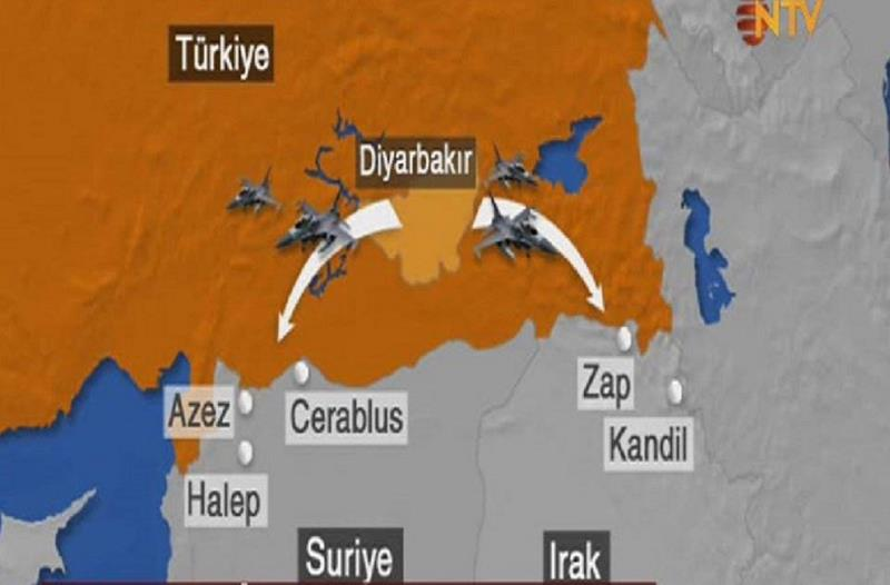 مقایسه عملیات ارتش ترکیه علیه داعش و پ.ک.ک