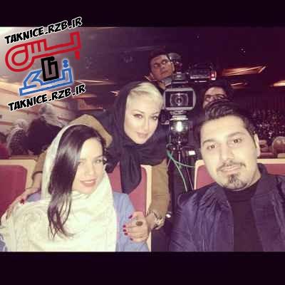 تک عکس یادگاری احسان خواجه امیری و همسرش با صدف طاهریان