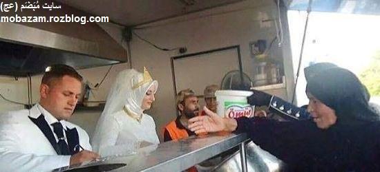 عروس و دامادی که به جای مراسم، به آوارگان غذا دادند + تصاویر
