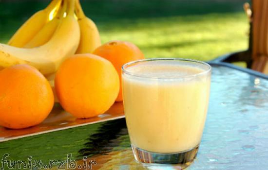 طرز تهیه نوشیدنی خنک آب پرتقال و موز