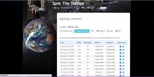فهرست زمان عبور ایستگاه بین المللی فضایی