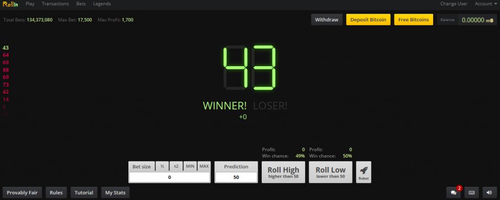 سایتی برای بازی رایگان Dice با بیت کوین